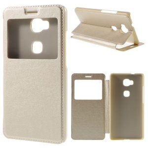 Window View Leather Stand Cover for Huawei Honor Play 5X / Honor 5X - Champagne