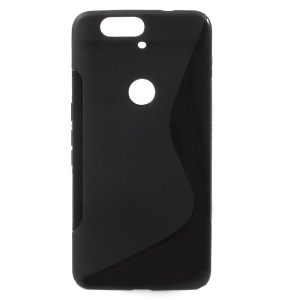 S Shape Anti-slip TPU Gel Cover for Huawei Nexus 6P - Black