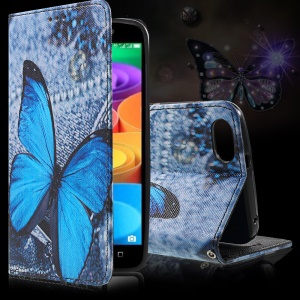 Callfree Leather Wallet Case Cover for Huawei Honor Play 4X - Blue Butterfly