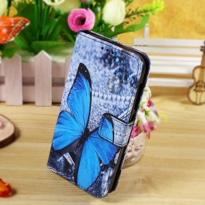 Callfree Leather Wallet Case Cover for Huawei Ascend Y540 - Blue Butterfly