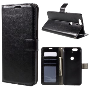 Crazy Horse Wallet Leather Phone Case for Huawei Nexus 6P - Black