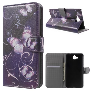 Wallet Leather Stand Case for Huawei Enjoy 5 / Honor Play 5X - Purple Butterfly