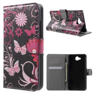 Wallet Leather Stand Case Cover for Huawei Enjoy 5 / Honor Play 5X - Butterfly Flowers