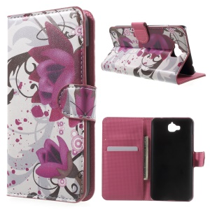 Leather Cover with Card Slots for Huawei Y6 Pro / Enjoy 5 - Purple Flowers