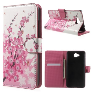 Leather Case Cover with Card Slots for Huawei Enjoy 5 / Honor Play 5X - Plum Blossom