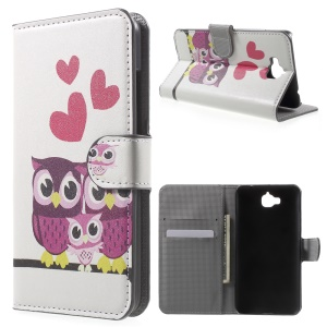 PU Leather Cover with Stand for Huawei Enjoy 5 / Honor Play 5X - Lovely Owls and Hearts