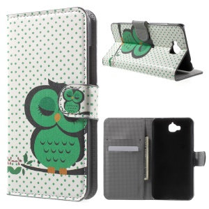 PU Leather Case Cover with Stand for Huawei Enjoy 5 / Honor Play 5X - Sleeping Owl on the Branch