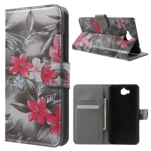 Wallet PU Leather Stand Cover for Huawei Enjoy 5 / Honor Play 5X - Red Flowers