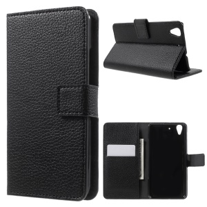 Litchi Grain Leather Case Wallet Stand Cover for Huawei Y6 Scale - Black