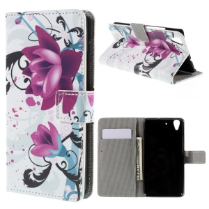 Patterned Card Holder Leather Stand Case for Huawei Y6 Scale - Purple Flower