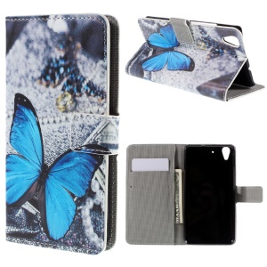 Patterned Card Holder Leather Stand Case for Huawei Y6 Scale - Blue Butterfly