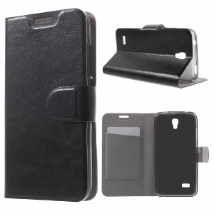 Crazy Horse Leather Card Slot Case for Huawei Y5 Y560 - Black