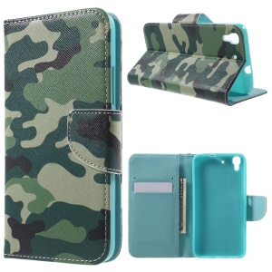 PU Leather Flip Wallet Stand Cover for Huawei Y6 Scale - Camouflage