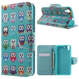 PU Leather Wallet Stand Cover for Huawei Y6 Scale - Multiple Owls