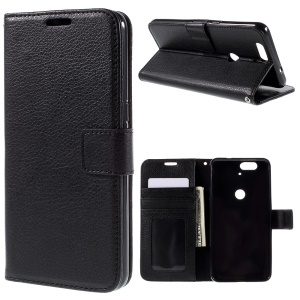 Lychee Texture Leather Wallet Stand Case for Huawei Nexus 6P - Black