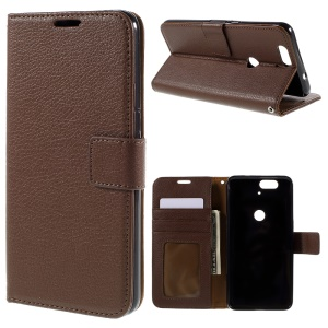 Litchi Grain Leather Card Holder Stand Shell Cover for Huawei Nexus 6P - Brown
