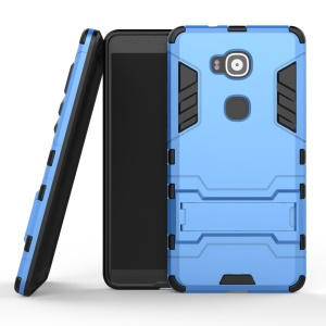 For Huawei G8 Cool Plastic + TPU Phone Cover with Kickstand - Light Blue
