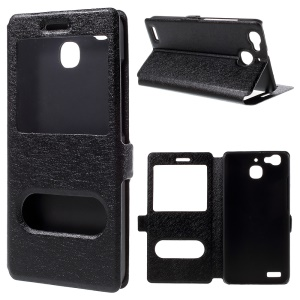 Dual Windows Silk Leather Case for Huawei Enjoy 5s / GR3 - Black