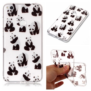 Clear IMD Patterned Glitter Powder TPU Cellphone Cover for Huawei P8 Lite (2017)/Honor 8 Lite - Panda