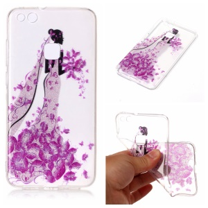 Clear IMD Patterned Glitter Powder TPU Phone Casing Cover for Huawei P10 Lite - Girl