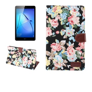 Flower Cloth Coated Auto Wake & Sleep Wallet Leather Case for Huawei MediaPad M3 Lite 10 10.1 inch - Black