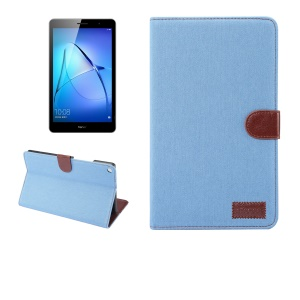 Auto Wake and Sleep Jeans Cloth Texture Wallet Stand Leather Flip Case for Huawei MediaPad M3 Lite 10 - Baby Blue