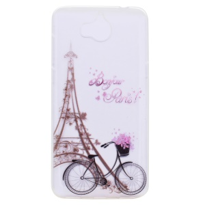 Pattern Printing TPU Cover for Huawei Y5 (2017) - Eiffel Tower and Bicycle