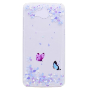 Pattern Printing TPU Cell Phone Case for Huawei Y5 (2017) - Butterflies and Flowers