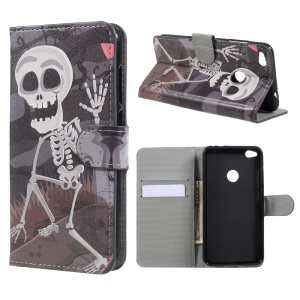 Pattern Printing Wallet Leather Stand Phone Case for Huawei P8 Lite (2017) / Honor 8 Lite - Skulls