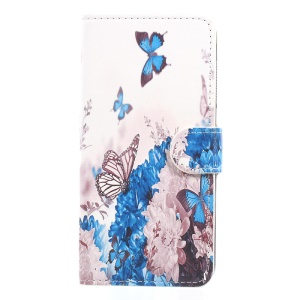 Butterflies and Blue Flowers