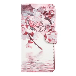 For Huawei P8 Lite (2017) / Honor 8 Lite Pattern Printing Wallet Leather Stand Phone Case - Peach Blossom