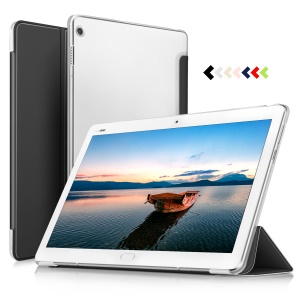 Translucent Tri-fold PU Leather Smart Flip Tablet Shell Cover for Huawei MediaPad M3 Lite 10 (10.1 Inch) - Black