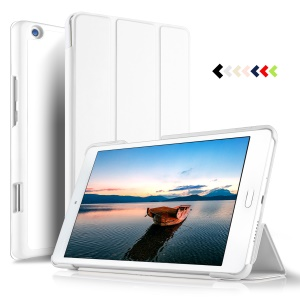 Tri-fold Smart Leather Stand Casing Accessory for Huawei Mediapad M3 Lite 8.0 inch - White