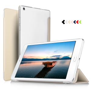 Translucent Tri-fold PU Leather Smart Flip Tablet Accessory Cover for Huawei MediaPad M3 Lite 8 inch - Gold