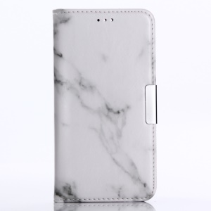 Marble Grain Wallet Leather Stand Cover Shell with Card Slots for Huawei Honor 9 - White