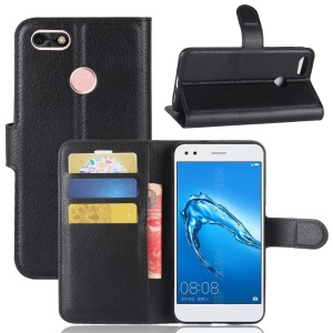 Litchi Texture Wallet Leather Stand Case for Huawei Enjoy 7 - Black