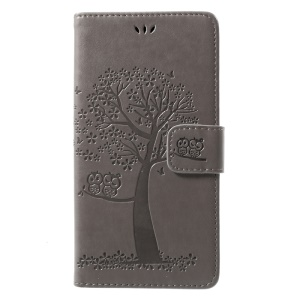 Imprint Tree Owl Magnetic Wallet PU Leather Stand Sehll for Huawei Y7 Prime / Enjoy 7 Plus - Grey