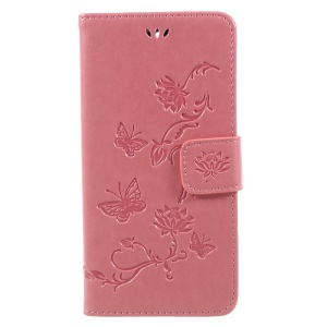 Imprint Butterfly Flower Folio Leather Wallet Mobile Protective Case with Stand for Huawei Y5 (2017) / Y6 (2017) - Pink