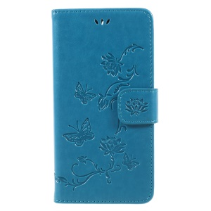 Imprint Butterfly Flower Leather Magnetic Wallet Protection Phone Case for Huawei Y5 (2017) / Y6 (2017) - Blue