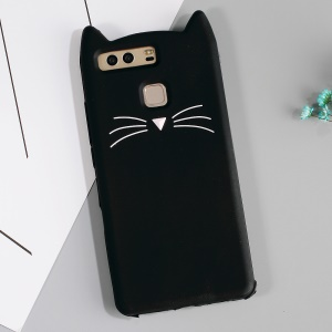 3D Moustache Cat Silicone Case for Huawei P9 - Black
