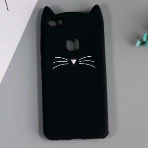 3D Moustache Cat Silicone Case for Huawei P10 Lite - Black