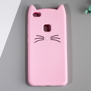 3D Moustache Cat Silicone Shell for Huawei P10 Lite - Pink