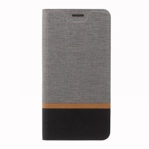 Cross Pattern Leather Card Holder Phone Cover (Built-in Steel Sheet) for Huawei Enjoy 7 Plus / Y7 Prime - Grey