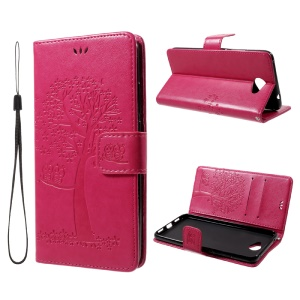Imprint Tree Owl PU Leather Wallet Stand Phone Cover for Huawei Y7 (2017) - Rose