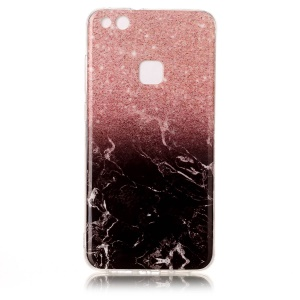 Marble Pattern IMD Flexible TPU Case for Huawei P10 Lite - Black / White / Pink
