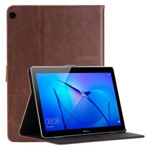 Retro Style Crazy Horse Leather Card Slots Tablet Case Shell for Huawei MediaPad T3 10 - Coffee
