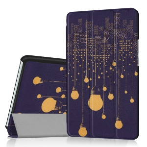 Foldable Tri-fold Stand Pattern Printing Leather Tablet Folio Cover Case for Huawei MediaPad M3 8.4 - Lamp Bulb