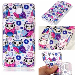 Pattern Printing Embossed TPU Cover for Huawei Y5 (2017) / Y6 (2017) - Owls Pattern