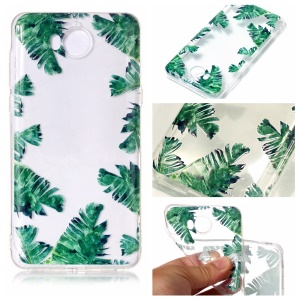Pattern Printing Embossed TPU Shell Cover Case for Huawei Y5 (2017) / Y6 (2017) - Green Leaves