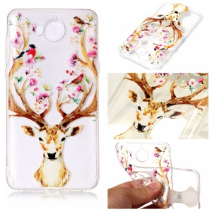Pattern Printing Embossed TPU Cover Shell for Huawei Y5 (2017) / Y6 (2017) - Deer with Flowers